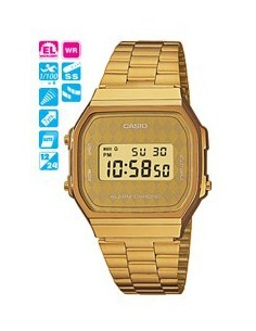 RELOJ CASIO DIGITAL DORADO ROMBO