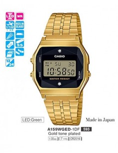 RELOJ CASIO DIGITAL METAL DOR.ESF.NEG