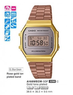 RELOJ CASIO DIGITAL METAL DOR.ESF.VIOL