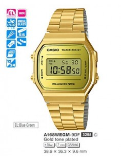 RELOJ CASIO DITIGAL METAL DOR.ESF.AMAR